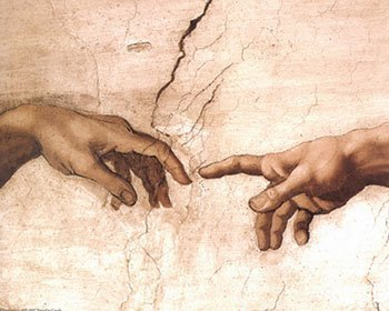 The Creation of Adam fragment by Michelangelo Buonarroti. Art Poster Print
