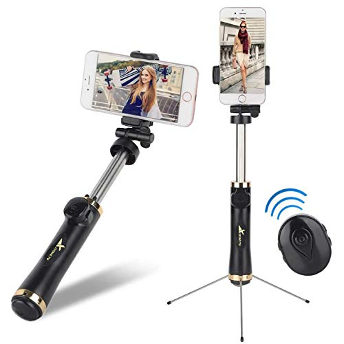 Selfie Stick Suitable for iPhone Xs Max Xr X 8 7 6 6s 5 Plus,Android,Samsung Galaxy and More Extendable Selfie Stick & Tripod with Bluetooth Remote, Lightweight