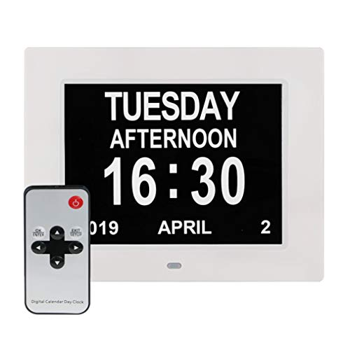 [Newest Version] Large Display Digital Calendar Day Clock - 12 Alarm Options, Level 5 Auto Dimmable Display, Extra Large Non-Abbreviated Day and Month Perfect for Seniors