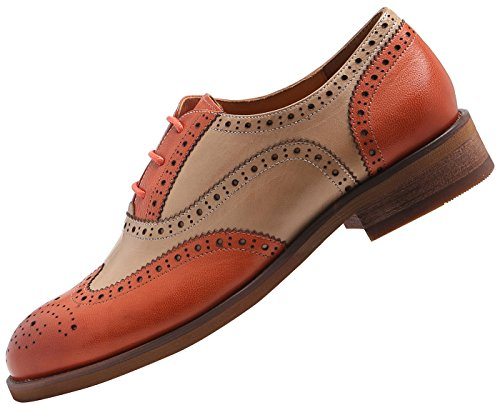 ee70688884 U-lite Muticolor Perforated Lace-up Wingtip Leather Flat Oxfords Vintage  Oxford Shoes Women