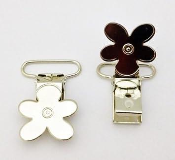 Amazon.com: 25 Daisy flor metal plateado Suspender Chupete ...