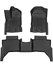 Findway F100 3D Car Floor Mat / Liner ( TPE Rubber) for 2019-2021 Ford Ranger SuperCrew, All Weather, Digital Measured, Custom Fit, Waterproof, 3-Year Warranty. Full Set for 1st row and 2nd row - Black