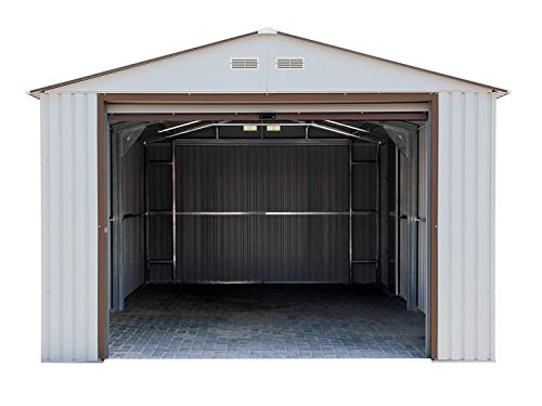 - Duramax Imperial Metal Garage, 12 x 20, Off White with Brown