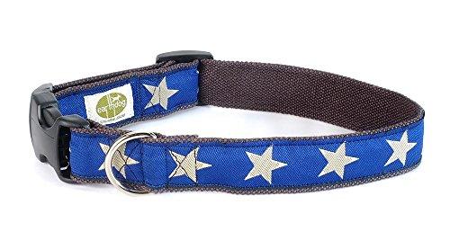 Earthdog Decorative Hemp Collar, Star Pattern (Blue, Medium)