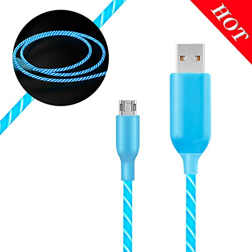 Micro USB Data Cord MKDGO 3ft Round LED Visible Flowing Light Up Charging Cables USB 2.0A Male to Sync Data Cords Compatible with Samsung, Kindle, Nexus, LG, Sony, Xbox, PS4 and More - Blue Light