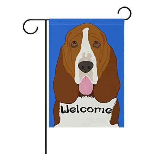 set Hound Dog Decorative Double Sided Garden Flag 12 x 18 inch (Cute Basset Hounds)