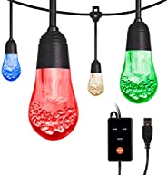 Enbrighten Acrylic Bulbs, USB-Powered Café String Lights, 12ft, 12, LED, Indoor or Outdoor, Camping, Tailgate,