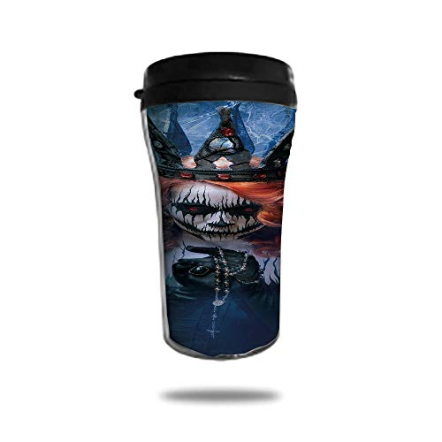 Customizable Travel Photo Mug with Lid - 8.45 OZ(250 ml) Stainless Steel Travel Tumbler, Makes a Great Gift by,Queen,Queen of Death Scary Body Art Halloween Evil Face Bizarre Make Up Zombie,Navy Blue -