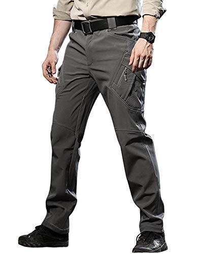 TACVASEN Men's Outdoor Windproof Waterproof Fleece Hiking Trousers Combat Cargo Pants Grey,US 32