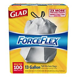 Glad Bags Trash Forceflex (Glad ForceFlexPlus Tall Kitchen Drawstring Trash Bags - Unscented -13 Gallon - 100 Count (70427))