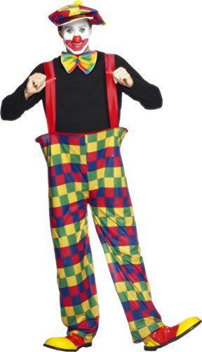 Smiffy's Men's Hooped Clown Costume with Trousers Hat and Bow-Tie