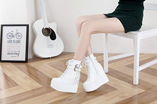 Amazon.com: SHANGWU Womens Invisible High-Heeled Platform Sports Shoes Waterproof Platform Womens Shoes Wedges Shoes Punk Ankle Boots Super High-Heeled ...