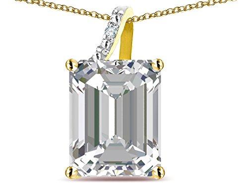 Star K Large 10x8 Octagon Emerald Cut Genuine White Topaz Pendant Necklace 10 kt Yellow ()