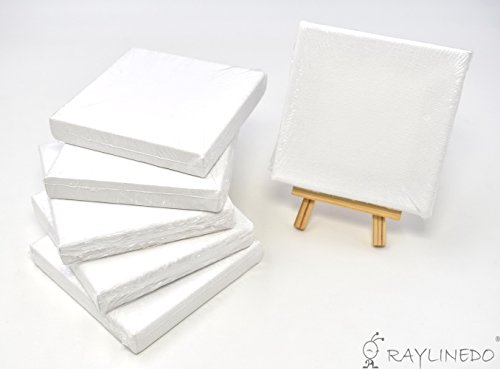 RayLineDo Set of 6pcs Mini Artist Blank Canvas Frame 4x4inch ( 10x10cm ) Oil Water Painting Board Flat Canvas with 1pc Mini Wood Display Easel