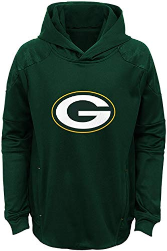 Green Bay Packer Logo (Green Bay Packers Youth Green Primary Logo Performance Pullover Hoodie (Large)