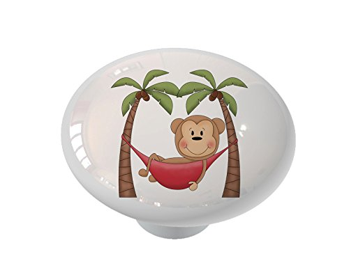 Hammock Palm Monkey Ceramic Drawer Knob