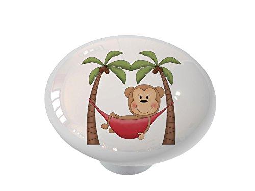 Hammock Palm Monkey Ceramic Drawer Knob ()