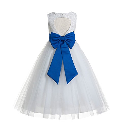 White Floral Lace Heart Cutout Junior Flower Girl Dress Girl Lace Dress 172T 6 ()