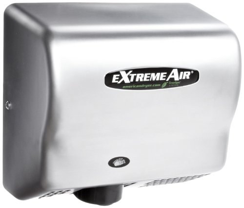 American Dryer ExtremeAir GXT9-SS Stainless Steel Cover High-Speed Automatic Hand Dryer, 10-12 Second Dries, 100-240V, 1,500W Maximum Power, 50/60Hz ()