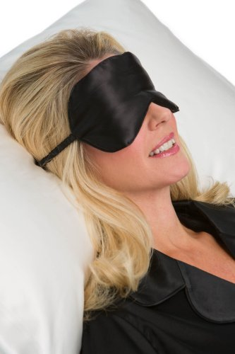 Tranquility Therapeutic 100% Silk Sleep Mask; Eye Mask Hypoallergenic, Facial Eye Beauty; Black