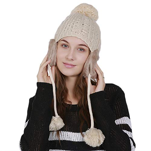 (Gracmyron Womens Winter Beanies Warm Crochet Hats Cable Knitted Ski Caps with Earflap Pom Pom (One Size, Beige))