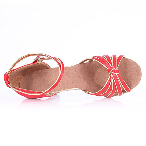 JINFENGKAI Women's Latin Salsa Dance Shoes Style 217 Red L1W8L7Pq