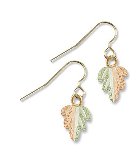 - Landstroms Black Hills Gold Earrings with Dangling Split Leaf on Hoop Earwire