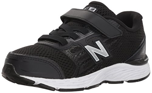 New Balance Boys' 680v5 Hook and Loop Running Shoe, Black/White, 2.5 M US Little (Eva Black Shoes)