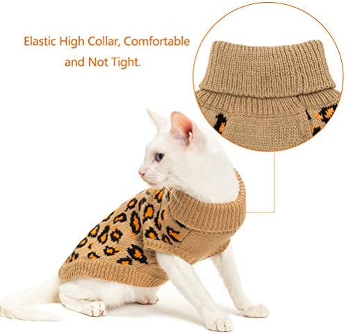 Mihachi Winter Leopard Warm Cat Sweater Fashion Knit Vest for Cats Puppy Small Animals Brown 23