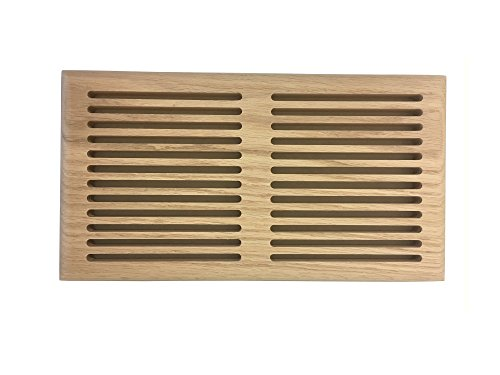 6 Inch x 12 Inch White Oak Hardwood Vent Floor Register Surface Mount, Slotted Style, Unfinished