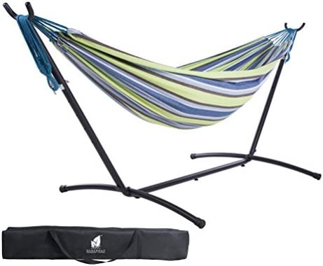 SUNCREAT Double Hammock with Steel Stand for 2 Person Includes Portable Carrying Case, 9 Feet-Oasis