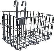 Folding Bike Front Basket, Magicorange Rust Proof Detachable Wire Mesh Fold-Up Rear Bike Basket with Handles,