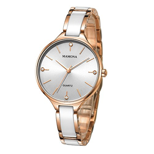 MAMONA Fashion Ladies Business Dress Watch Waterproof Quartz Analog White and Rose Gold Ceramic Watches Bracelet L3877RG