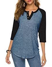 HOCOSIT Women's Raglan Round Neck Summer Tops Ladies Basic Button Henley Shirt Boyfriend Style Blouse