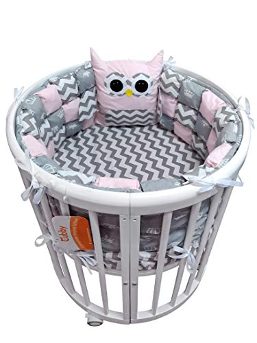Baby Nursery Crib Bedding Set Premium with Bumpers for Round Crib (Owls (for Girls) Bonbon Bumpers)