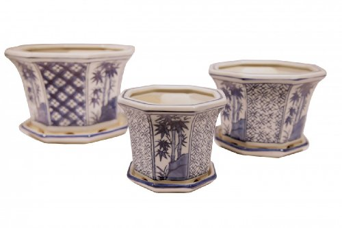 Set of three porcelain planters - Painted in Rich Cobalt Blue with Asian Arabesque and Bamboo Floral. One of Our Best Selling Items
