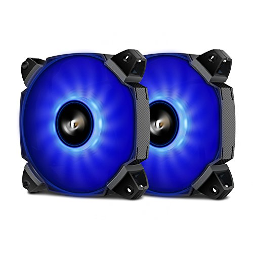 Pack of 2 darkFlash ZR12 Dual Blade 120mm Blue LED Case Cooling Fan Cooler 4 Pin/3 Pin for Computer Cases, CPU Coolers, and Radiators