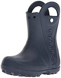 Crocs Crocband Fun Lab Graphic Handle It Rain Boot Kids Light-up Clog, Navy, 9 M Us Toddler