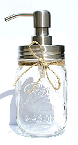 The Southern Jarring Co. Rustproof Stainless Steel Mason Jar Soap Dispenser - Rustic Farmhouse Soap Pump for Mason Jar Decor