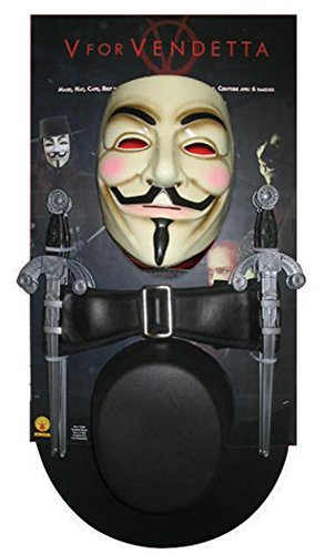 V For Vendetta Costume Wig (UHC Men's V for Vendetta Outfit Movie Theme Fancy Dress Halloween Costume Kit, OS)