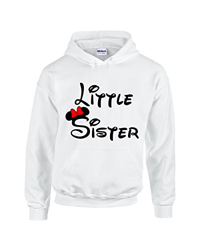 Hoodie Kids Sister (Minnie Little Sister Fashion Cool Disney Unisex Pullover Hoodie Hooded Sweatshirt(White,Small))