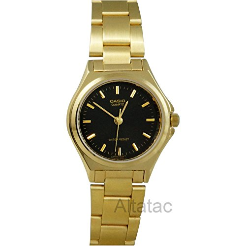 LTP1130 3-Hand Analog Ladies Fashion Black Face Gold Metal Band Watch