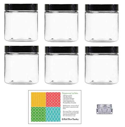 Clear 8 oz Plastic Jars with Black Lids (6 pk) with Balm Jar - PET Round Refillable Containers