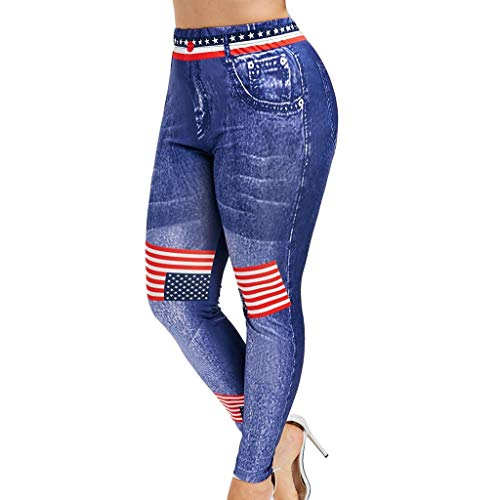 CapsA High Waist Yoga Pants for Women Plus Size Pants 3D Jean Print American Flag Leggings Sports Fitness Pants