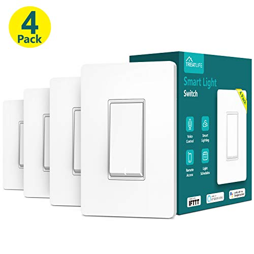 Smart Light Switch, Treatlife Wi-Fi Light Switch, Compatible with Alexa, Google Assistant and IFTTT, Single-Pole, Schedule, Remote Control, Neutral Wire Required, Easy Installation, ETL Listed(4 PACK)