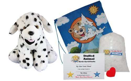 """Price comparison product image """"Domino the Dalmation"""" Make Your Own Stuffed Animal -No Sew-Kit With Cute Backpack!"""