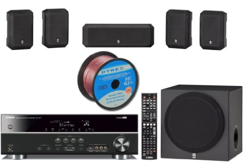 """Yamaha Surround Realism 3D Ready Home Theater System with 5.1-channel 500 Watt AV Receiver + 4 Surround Satellite Speakers + 1 Center Channel Speaker + 1 Front Firing 100W Powered 8"""" Active Subwoofer (Speaker Wire Included)"""