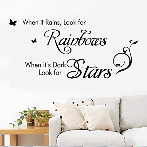 When It Rains Look for Rainbows When It's Dark Look for Stars,Wall Sticker Motivational Wall Decals,Family Inspirational Wall Stickers Quotes