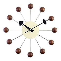 A.Cerco Designer Wooden and Metal Analog Movement Wall Clock | 12.9 Large | Silent Ticking | Decorative | Chocolate-Brown Wooden Balls | Pin Wheel Concept