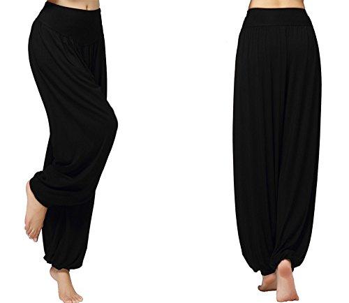 Hanerdun Womens Soft Yoga Pants Pilates Pants Harem Pants Leisure Pants, Black, Medium